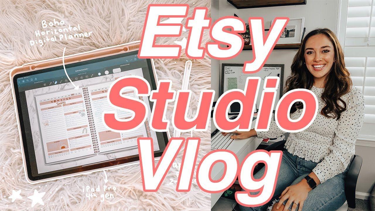 ETSY SHOP OWNER DAY IN THE LIFE VLOG, Etsy Shop Studio Vlog, Entrepreneur Day in the Life